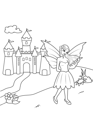 fairy near castle coloring page  free printable coloring pages