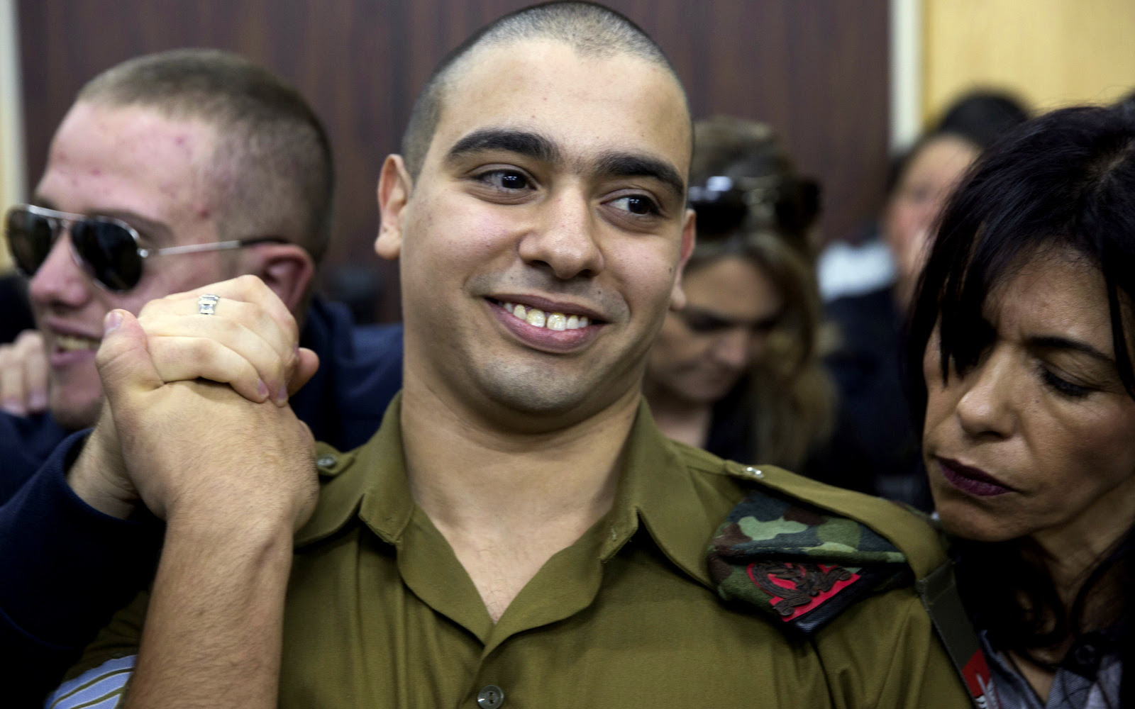 Israeli solider Sgt. Elor Azaria waits for the verdict inside the military court in Tel Aviv, Israel on Wednesday, Jan. 4, 2017. (AP/Heidi Levine).