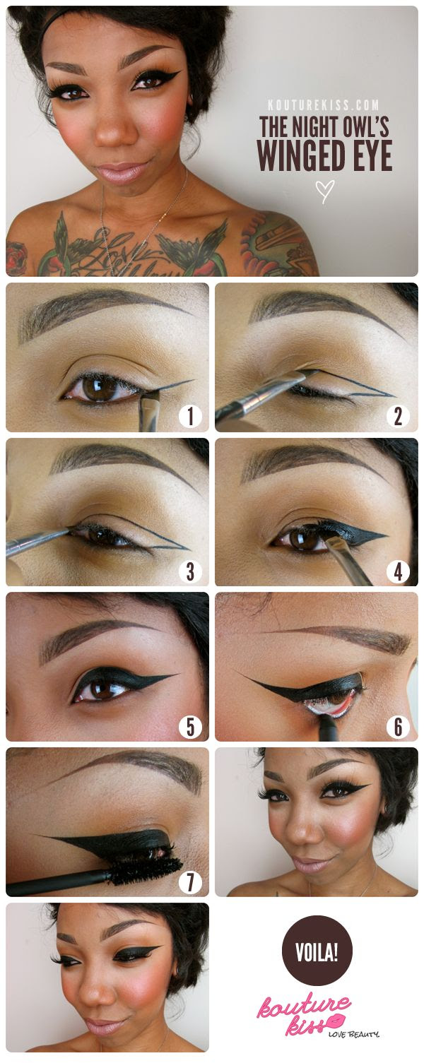 Purty.  10 Creative And Useful Makeup Tutorials, The Night Owl's Winged Eye