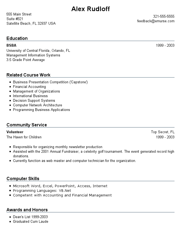 resume format  resume format for college students with no experience