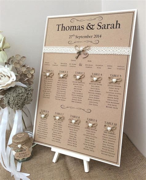 Rustic/Shabby Chic A3 Wedding Table Seating Plan   Rustic