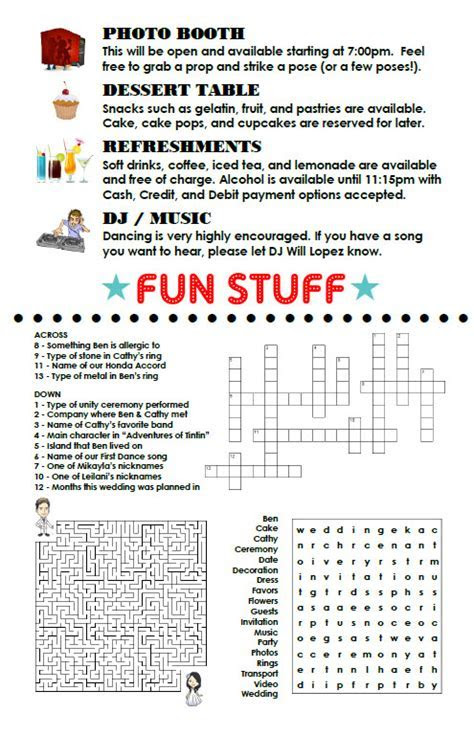 My Reception Programs with Wordsearch and Crossword