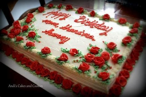 90 red roses for a 90th birthday. Full sheet cake.   Cakes