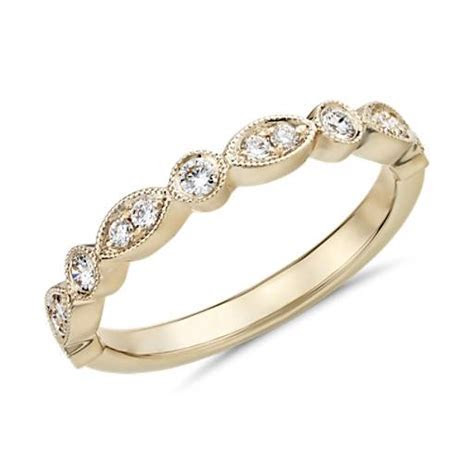 Milgrain Marquise and Dot Diamond Ring in 14k Yellow Gold