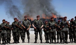 Soldiers stand guard as drugs are destroyed in Ciudad Juarez, Mexico.