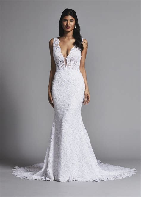 Sleeveless lace fit and flare wedding dress with v neck