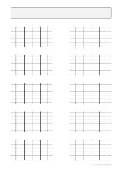 Blank Guitar Fretboard Diagram   White Gold
