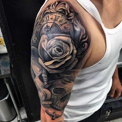 Men Rose Tattoo On Upper Arm - Best Tattoo Ideas