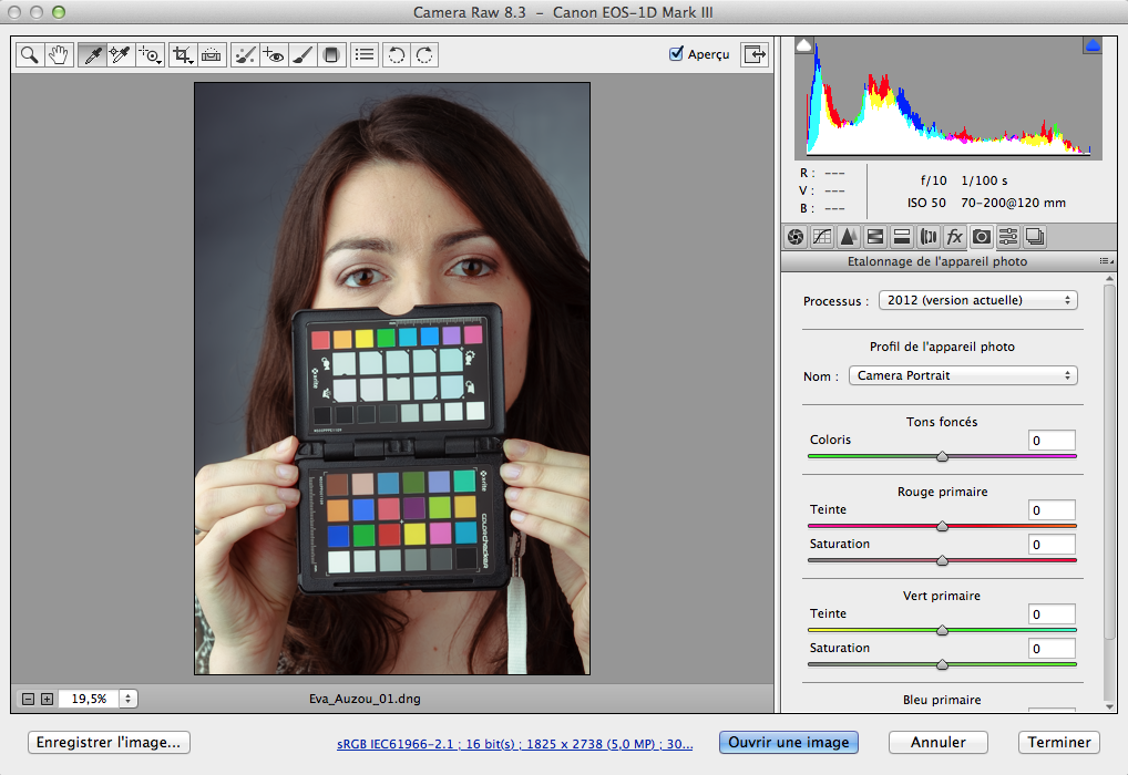 Interface de CameraRAW avec le profil de base Portrait… à titre comparatif.