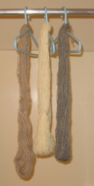 Comparing handspun skeins from 3 different fleece samples.