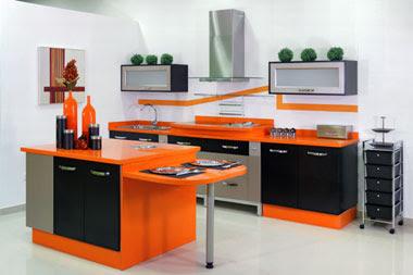 Interior decorating of orange kitchen | Ideas for Interior ...