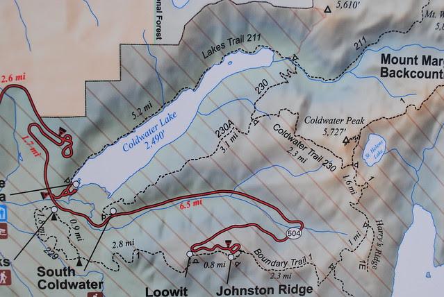 Map of Coldwater Lake and Johnston Ridge