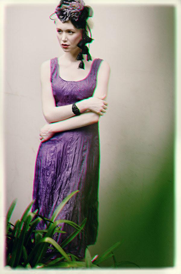 Purple Dress & Hat, Fashion Catalogue