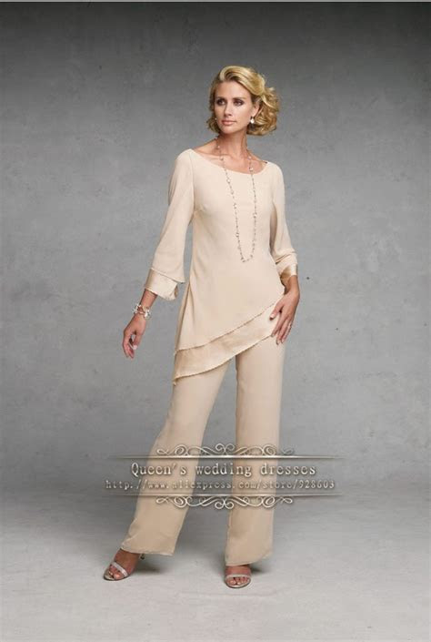 champagne simple chiffon mother   bride pant suits