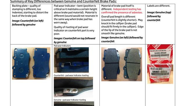 Toyota dealer bulletin ... warns of counterfeit brake pads containing asbestos. Picture: Supplied