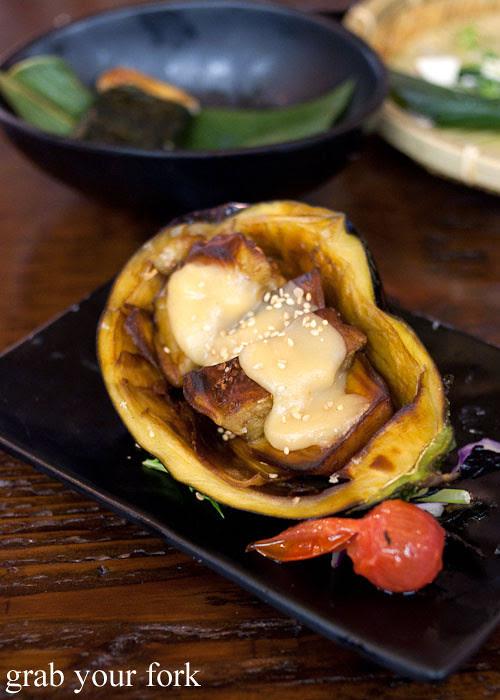 eggplant with sweet miso at yebisu izakaya, regent place sydney