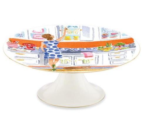 illustrated top shelf cake plate