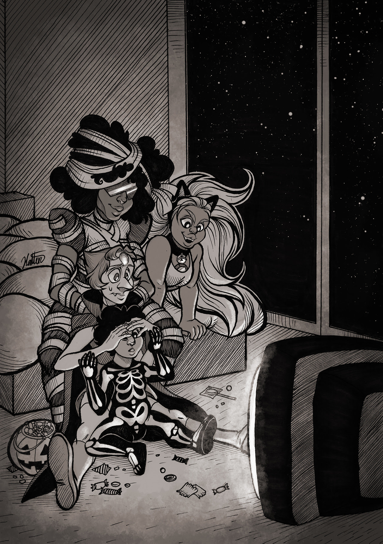 Inktober: Day 31 - Scary Movie Night