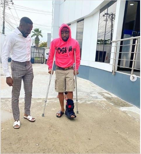 Davido Fractures His Leg, Now Uses Crutches (Photos)