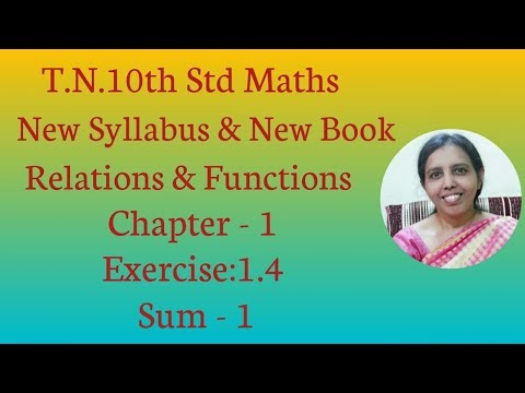 10th std Maths New Syllabus (T.N) 2019 - 2020 Relations & Functions Ex:1.4-1
