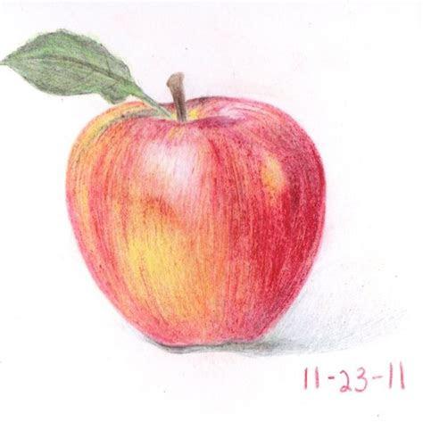 crayon drawing fruit red apple drawings  paintings