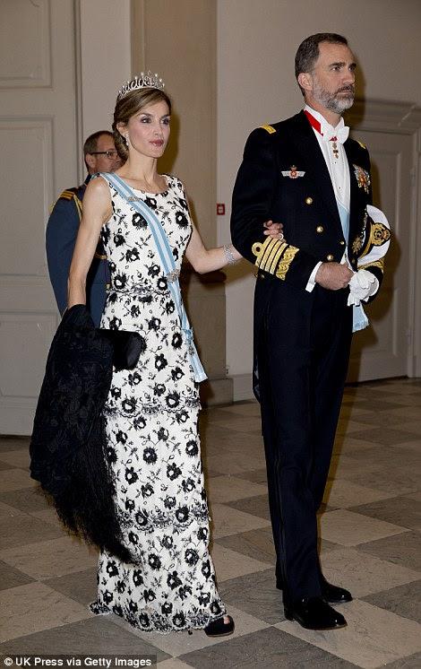 Gala: Spain's King Felipe VI and Queen Letizia put on the glitz on Wednesday evening  in Copenhagen