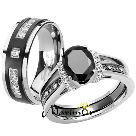 Her & His Black Cz Stainless Steel Wedding Engagement Ring