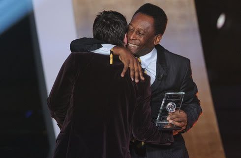 Pelé hugging Messi at FIFA Balon d'Or 2011 awards event