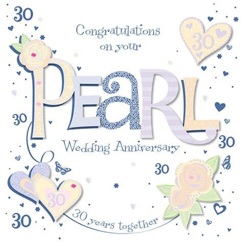 Handmade Pearl 30th Wedding Anniversary Greeting Card   Cards
