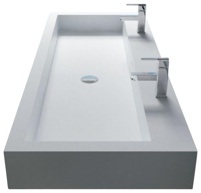 White Wall-Hung Stone Resin Sink - modern - bathroom sinks - by