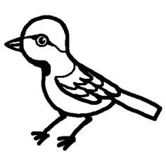 すずめスズメ白黒鳥の無料イラストミニカットクリップアート素材