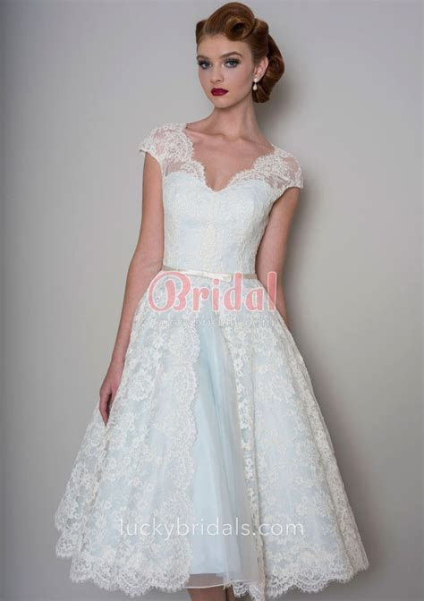 Cute Tea Length Pale Blue Bridal Gown with Cap Sleeves