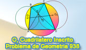 Problema de Geometría 938 (English ESL): Cuadrilátero Inscrito, Circunferencia, Circuncírculo, Circuncentro, Distancia, Relaciones Métricas