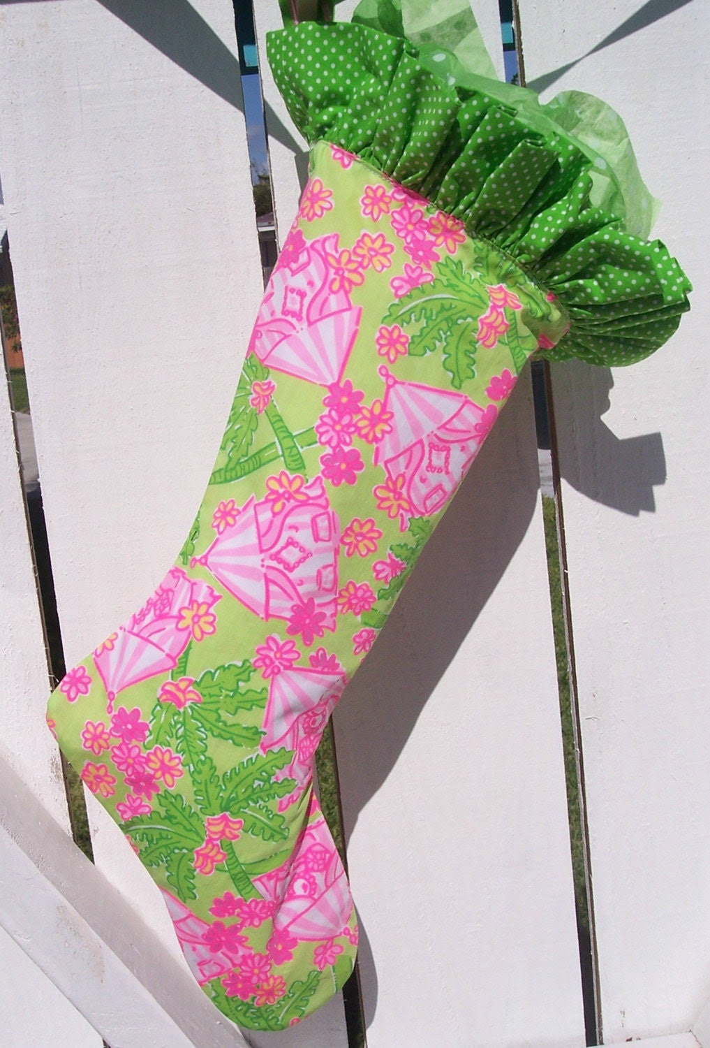 Handmade Christmas Stocking Lilly Pulitzer Fabric Reserved AQ782