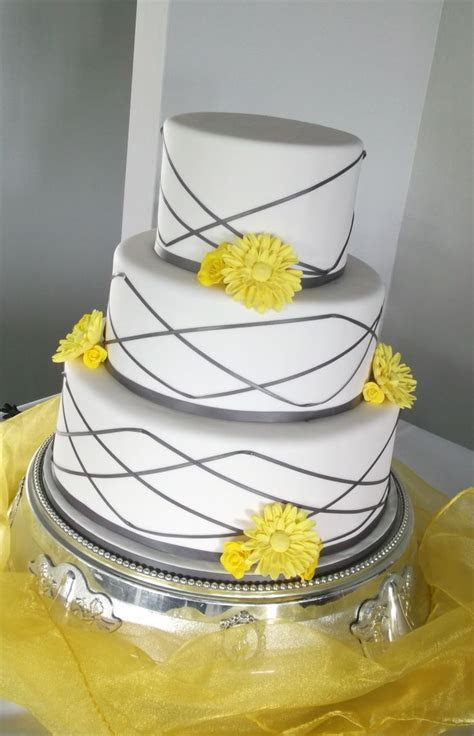 Yellow and grey wedding cake   Bake at One Eighty Cakes