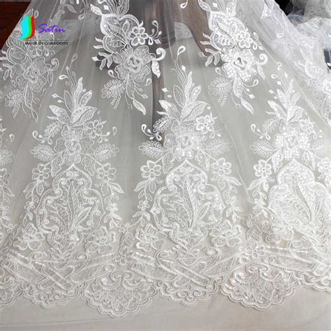Ivory White Embroidered Tulle Mesh Wedding Dress Lace