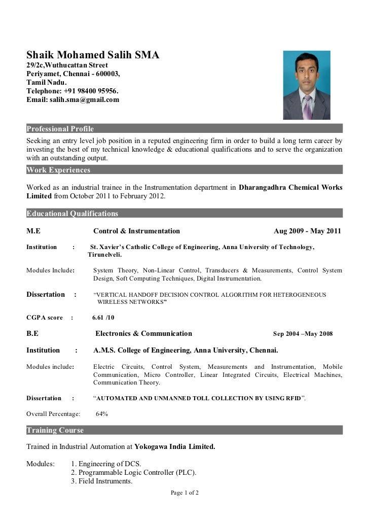 sample resume for freshers non technical