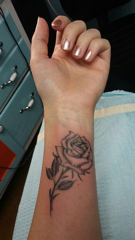 black grey rose tattoo wrist tim gillman
