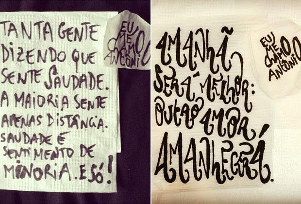 Tumblr Eu Me Chamo Antônio Reúne Frases De Amor Em Guardanapos