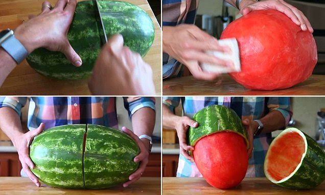 Mark Rober reveals a simple trick to skin a watermelon