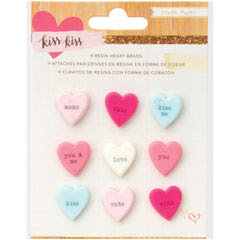 Candy Hearts Resin Brads Paper Kiss Kiss