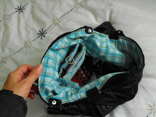 Recycled leather bag inside