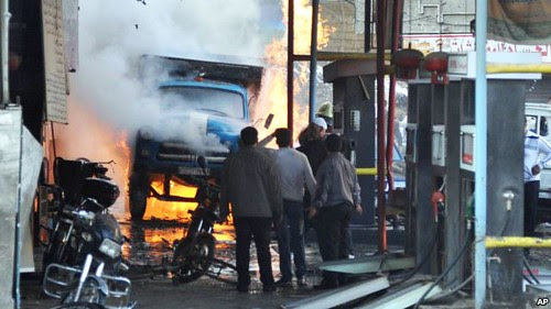 Impact of car bombing in Syrian capital of Damascus on November 28, 2012. The U.S. and NATO have backed a war of regime-change against the Assad government. by Pan-African News Wire File Photos