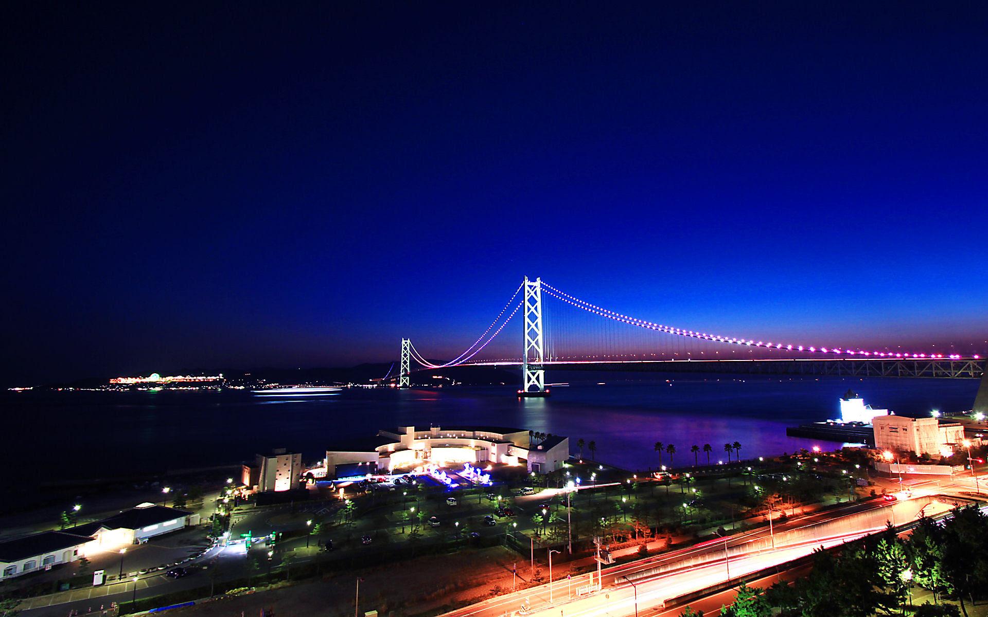 明石海峡大橋の夜景 神戸のイルミネーションフルhd 1920 1080 Wuxga