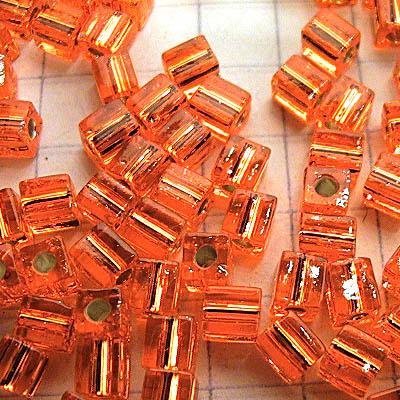 sb4-008 Miyuki - 4 mm Japanese Cubes - Silverlined Orange (10 grams)