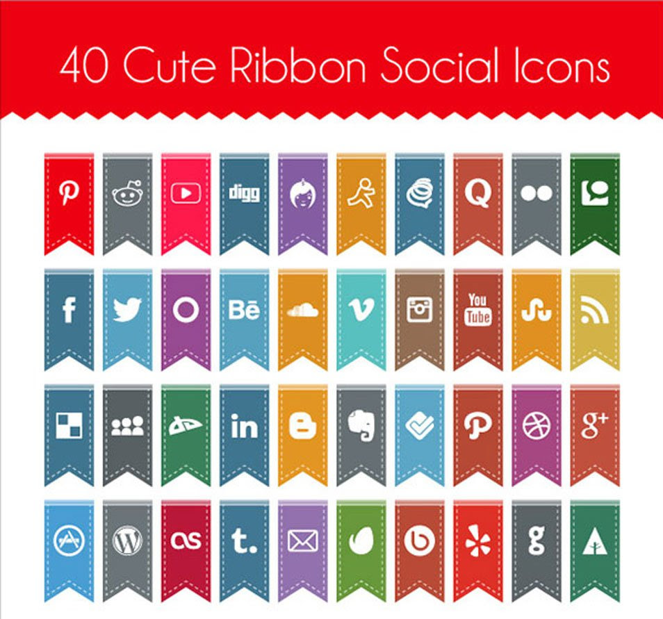 Free Cute Ribbon Social Media Icons 2014