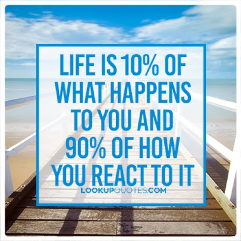 Life Is 10 Of What Happens To You And 90 Of How You React To It