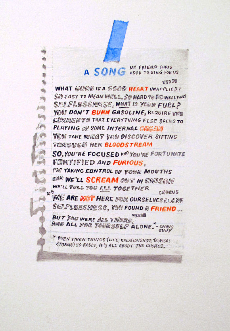"A Song. 9"" x 12"". Graphite, colored pencil and watercolor on paper. 2012. 20x200.com OccupySandy benefit edition available.  All of my proceeds will be donated directly to OccupySandy."