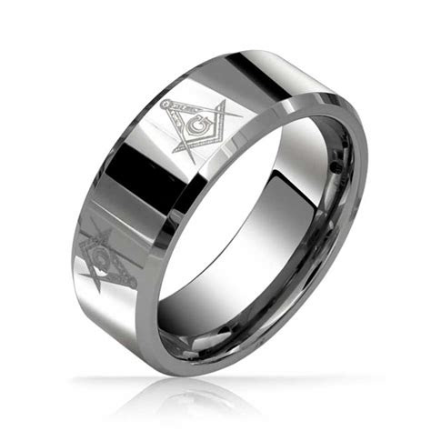 wide freemason masonic mens comfort fit tungsten ring