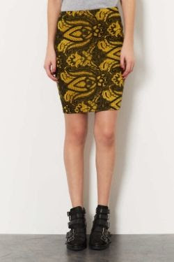 Topshop Tall Gold Paisley Skirt